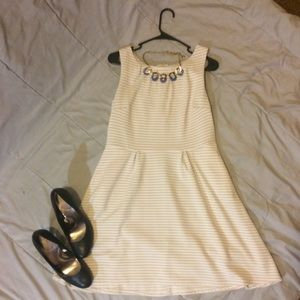 Dresses & Skirts - Grey & White Striped Fit and Flare Dress L